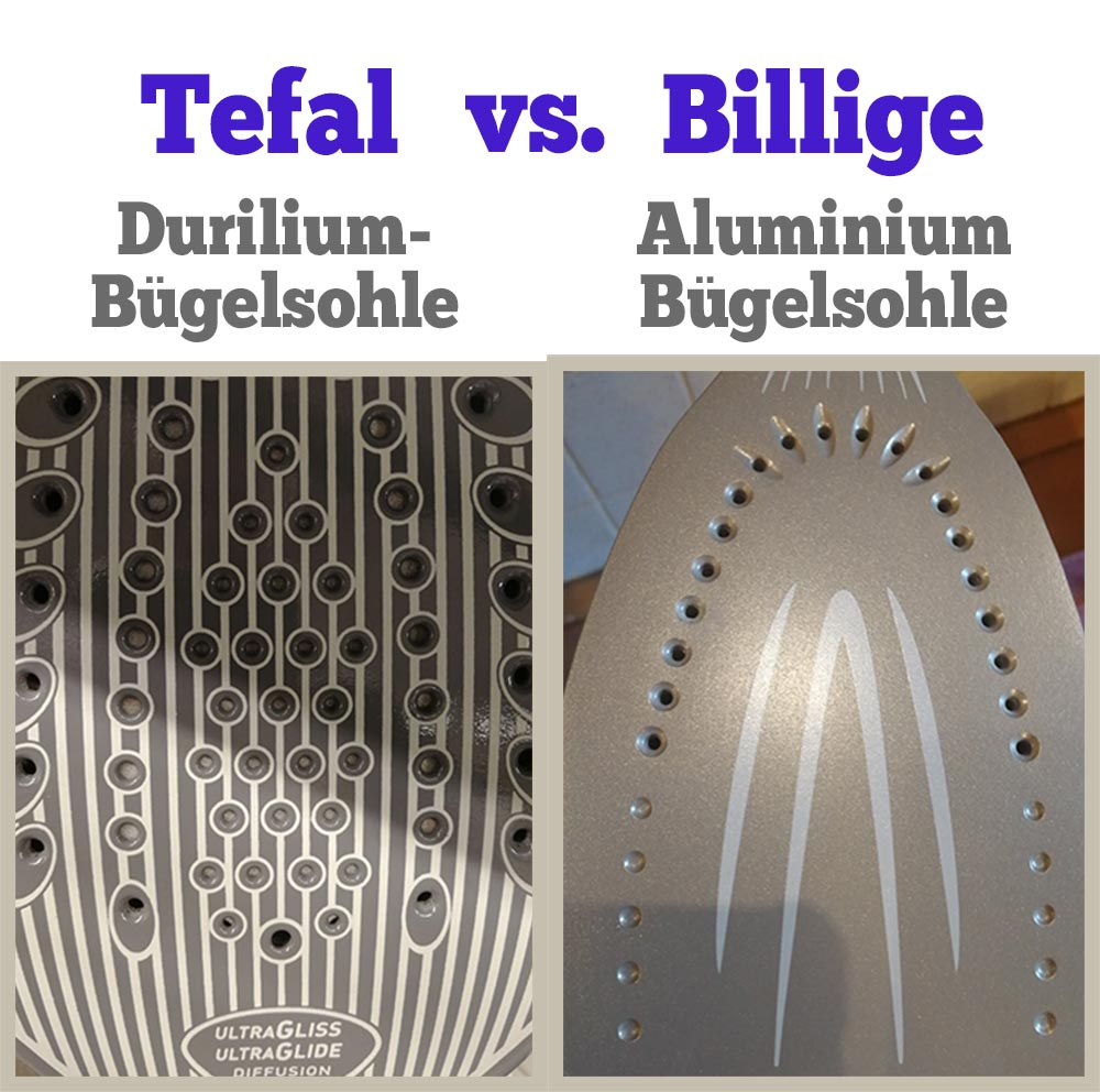 Tefal Durilium Bügelsohle vs. billige Aluminium Sohle